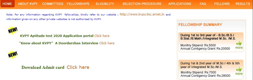 KVPY 2021 admit card download-